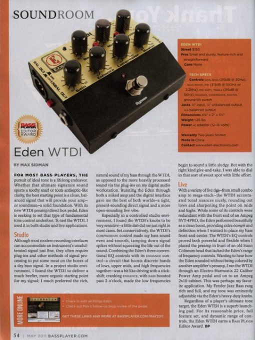 EDEN WTDI Direct Box/Preamp-1812
